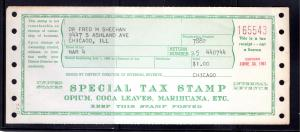 1960-1961, Special Tax Stamp for Opium, Coca Leaves, Marihuana, $1, Chicago, USI