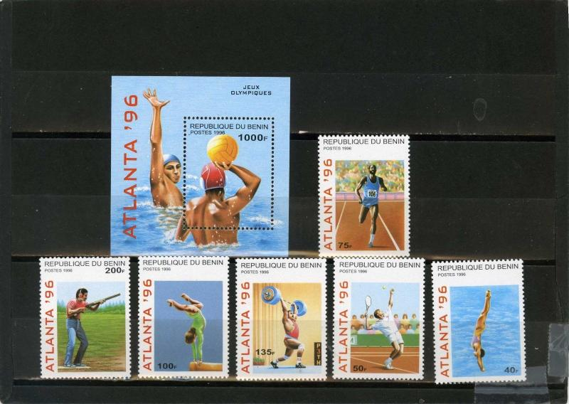 BENIN 1996 Sc#829-835 SUMMER OLYMPIC GAMES ATLANTA SET OF 6 STAMPS & S/S MNH