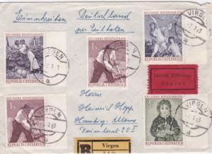 Austria Virgen 1963 express multi stamps Bahnpost railway cover ref  r20101