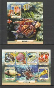 ST882 2016 GUINEA-BISSAU FAUNA FISH & MARINE LIFE PEIXES 1KB+1BL MNH STAMPS