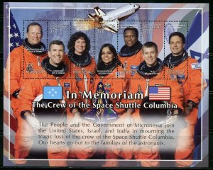 MICRONESIA  IN MEMORIAM THE CREW OF THE SPACE SHUTTLE COLUMBIA  SHEET  MINT NH