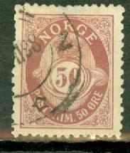 Norway 57a (perf 13.5x12.5) used CV $25