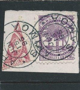 Samoa 1886-1900 1s Rose-Carmine perf 12½ bisected & 2s6d Purple perf 11 FU
