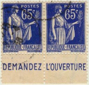 FRANCE - 1937 Pub CCP (DEMANDEZ, L'OUVERTURE) sur paire Yv.365b 65c Paix Obl..