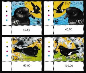 Faroe Is. Birds WWF Petrels 4v Corners SG#479-482 MI#530-533 SC#458-461 SALE
