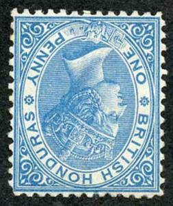 British Honduras SG5w 1d Pale Blue Wmk crown CC INVERTED Perf 12.5 MINT (no gum)
