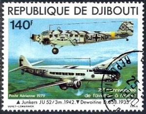Powered Flight, Junkers JU-52 & Dewoitine D-338, Djibouti stamp SC#C124 Used
