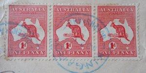 Australia 1913 One Penny Die I Kangaroo strip with KINGAROY in blue postmark