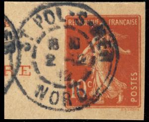 FRANCE - 1912 - CàD  ST POL-S-MER / NORD  sur fragment d'entier 10c Semeuse