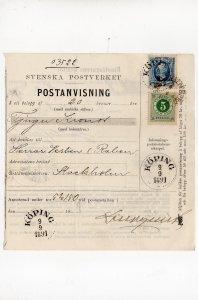 postanvisning 1891 : mixed franking 20 + 5 öre