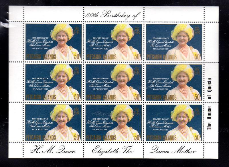 PITCAIRN ISLANDS #193  1980  QUEEN MOTHER 80TH BIRTHDAY MINT  VF NH  O.G  SHEET