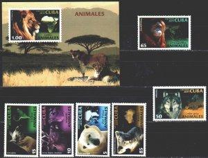 Cuba. 2011. 5529-34, bl283. Lion fauna. MVLH.