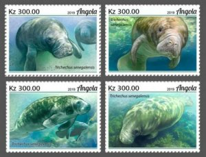 Angola - 2019 West African Manatee - 4 Stamp Set - ANG190210a