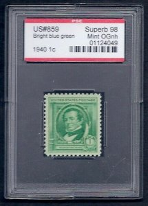 MALACK  859 SUPERB OG NH, w/PSE (GRADED 98, ENCAPSULATED), gg0068