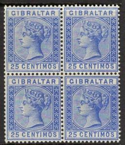 GIBRALTAR SG26a 1889 25c DEEP ULTRAMARINE MNH BLOCK OF 4(1 x LIGHTLY MOUNTED)