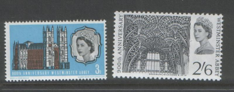 Great Britain 1966 Abbey (2) Scott # 452-53