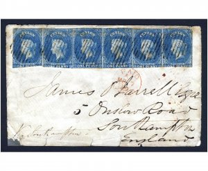 CEYLON Queen Victoria 1859 Strip of SIX Penny Blue on Blued COVER to SOUTHAMPTON