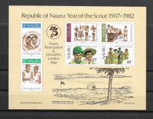 Nauru 1982 The 75th Anniversary of Boy Scout Movement - MNH Minisheet Sc244-249