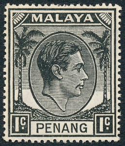 Malaya Penang 1949 1c Black SG3 MH