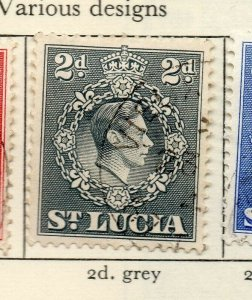 St Lucia 1938-48 GVI Early Issue Fine Used 2d. NW-154974