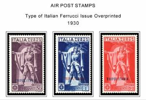 COLOR PRINTED TRIPOLITANIA 1923-1938 STAMP ALBUM PAGES (23 illustrated pages)