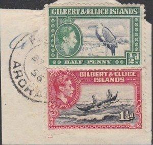 GILBERT & ELLICE IS GVI on 1956 piece POST OFFICE / ARORAE cds..............N479