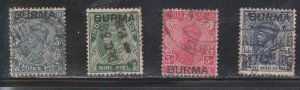 BURMA Scott # 1//8 Used - KGV Stamps Of India With Overprint