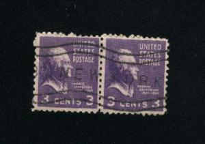 USA #807  pair used 1938 -1954 PD .12