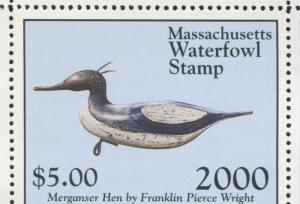 MASSACHUSETTS #27 2000 STATE DUCK MERGANSER DECOY by Randy Julius
