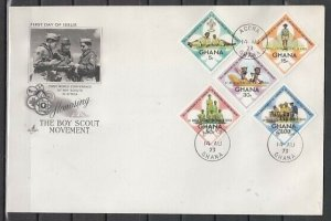Ghana, Scott cat. 484-488. Scout set o/p Scout Conference. First day cover.