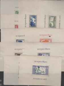 B)1951 LAOS, LAO WEAVING, WOMAN, BOAT ON MEKONG, ANNIVERSARY