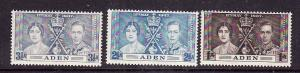 Aden-Sc#13-15-unused very light hinged KGVI Coronation set-Omnibus-1937-