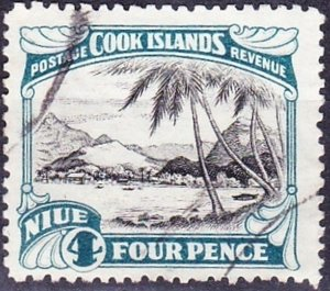 NIUE 1932 4d Black & Greenish Blue SG66 FU