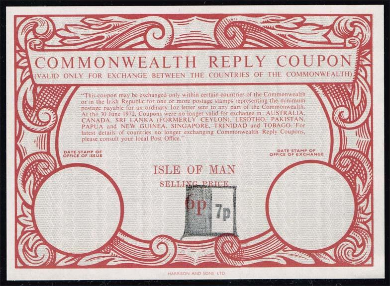 Isle of Man Commonwealth Reply Coupon 7p on 6p; Unused