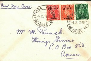 BOIC BA ERITREA FIRST DAY COVER Asmara Forces Unusual Cancel FDC 1950 EP180