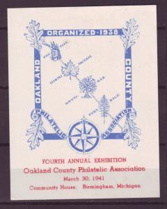 Z390 cinderella 1941 oakland county birmingham michigan 4th stamp exhib