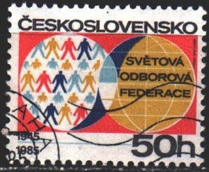 Czechoslovakia. 1985. 2824. 40 years of the Federation of Trade Unions. USED.