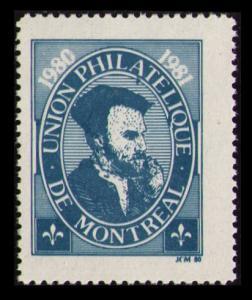 CANADA 1980 UNION PHILATELIQUE DE MONTREAL UPM JACQUES CARTIER MNH POSTER STAMP