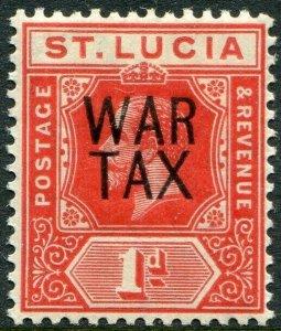 ST LUCIA-1916 1d Scarlet War Stamp Sg 89 MOUNTED MINT V49016