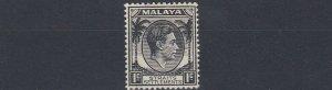 MALAYA  STRAITS SETTLEMENTS  1937 - 46  S G 278  1C BLACK  MH
