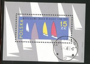 Poland Scott 1332 CTO 1965 Yacht mini sheet