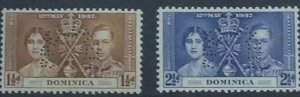 DOMINICA 1937 CORONATION 1.5d and 2.5d VALUES LIGHTLY MOUNTED WITH SPECIMEN