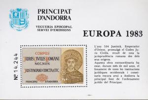 Andorra Spanish Administration 1983 Special Issue EUROPA Label  Emperor Justin