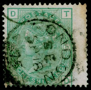 SG150, 1s green plate 11, USED. Cat £175. TD