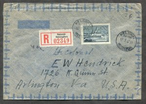 p14 - FINLAND 1947 Registered Cover to USA