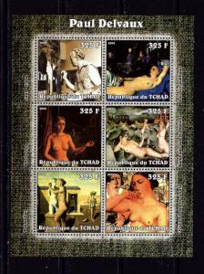 Chad 2002 Paul Delvaux mini-sheet of 6 NH
