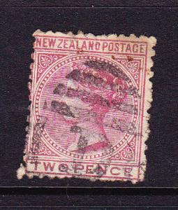NEW ZEALAND 1874 2d  ROSE QV FSF FU P12  SG158