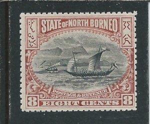NORTH BORNEO 1897-1902 8c BLACK & BROWN-PURPLE MM SG 102 CAT £90