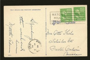 USA 804 Pair on Postmarked 1946 Watch Hill Station Linen Postcard Used