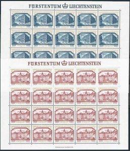 Liechtenstein 636-637 sheets,MNH.Michel 692-693. EUROPE CEPT-1978.Palace,Castle.
